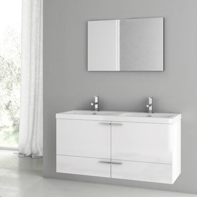 New Space 47 Double Bathroom Vanity Set with Mirror Base Finish: Glossy White