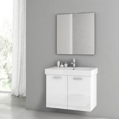 Cubical 2 30 Single Bathroom Vanity Set with Mirror Base Finish: Glossy White