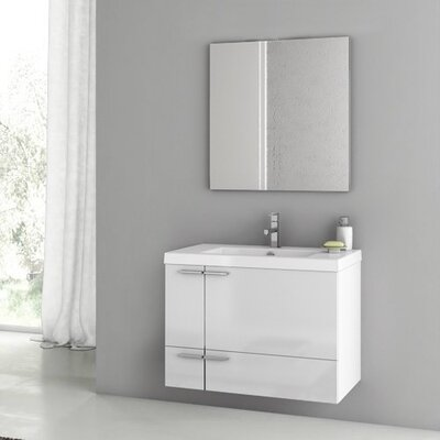 New Space 32 Single Bathroom Vanity Set with Mirror Base Finish: Glossy White