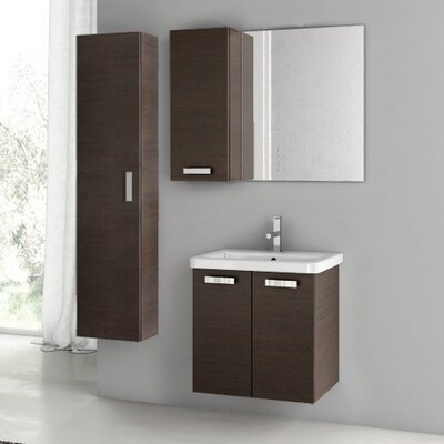City Play 24 Single Bathroom Vanity Set with Mirror Base Finish: Wenge