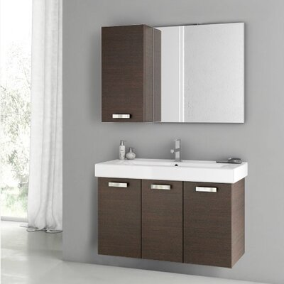 Cubical 2 41 Single Bathroom Vanity Set with Mirror Base Finish: Wenge