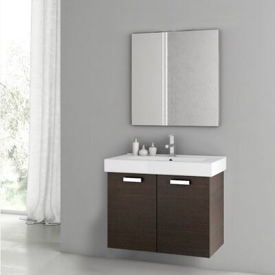 Cubical 2 30 Single Bathroom Vanity Set with Mirror Base Finish: Wenge