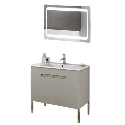 New York 34 Single Bathroom Vanity Set with Mirror Base Finish: Matt Canapa