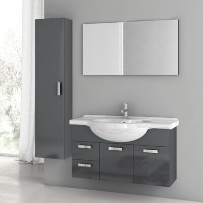 Phinex 41 Single Bathroom Vanity Set with Mirror Base Finish: Glossy White
