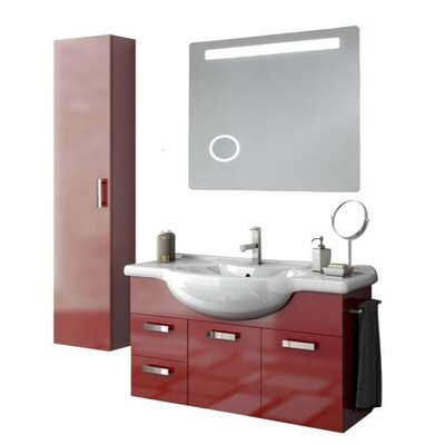 Phinex 43 Single Bathroom Vanity Set with Mirror Base Finish: Glossy Anthracite
