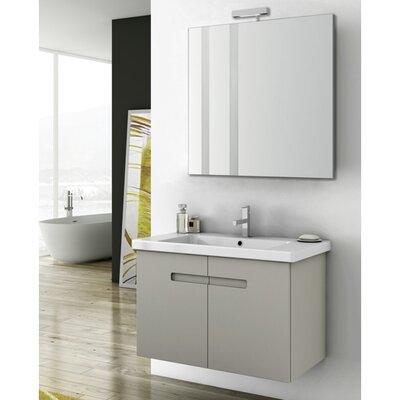New York 2 34 Single Bathroom Vanity Set with Mirror Base Finish: Matt Canapa