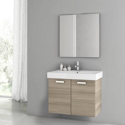 Cubical 2 30 Single Bathroom Vanity Set with Mirror Base Finish: Larch Canapa