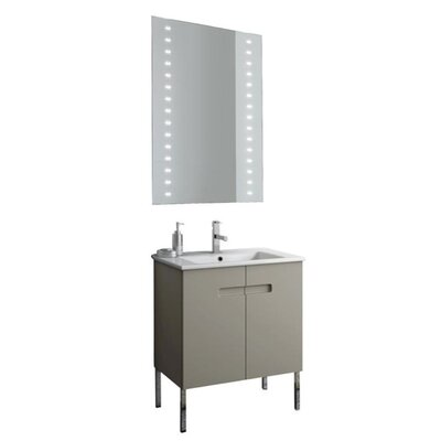 New York 26 Single Bathroom Vanity Set with Mirror Base Finish: Glossy White