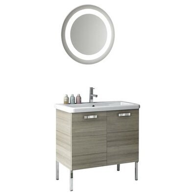 City Play 32 Single Bathroom Vanity Set with Mirror Base Finish: Wenge