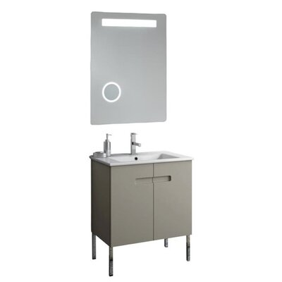New York 26 Single Bathroom Vanity Set with Mirror Base Finish: Matt Canapa