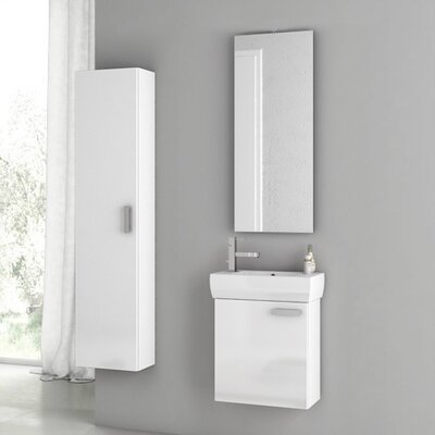 Cubical 20 Single Bathroom Vanity Set with Mirror Base Finish: Glossy White