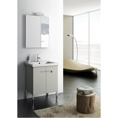 New York 2 23 Single Bathroom Vanity Set with Mirror Base Finish: Glossy White