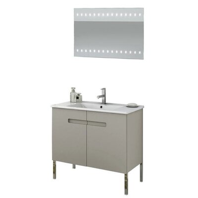 New York 34 Single Bathroom Vanity Set with Mirror Base Finish: Matt Canapa