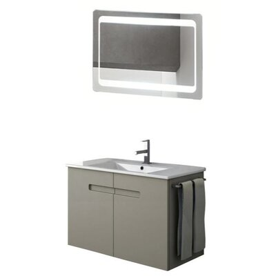 New York 35 Single Bathroom Vanity Set with Mirror Base Finish: Glossy White