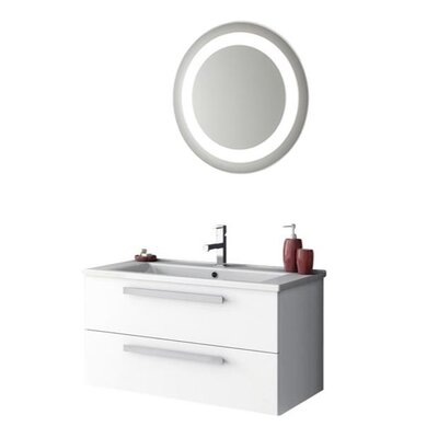Dadila 34 Single Bathroom Vanity Set with Mirror Base Finish: Glossy White