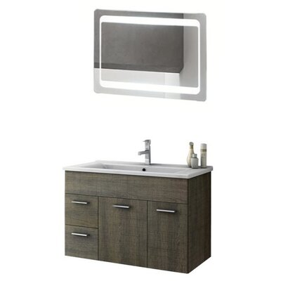 Loren 34 Single Bathroom Vanity Set with Mirror Base Finish: Larch Canapa