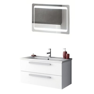 Dadila 34 Single Bathroom Vanity Set with Mirror Base Finish: Oak