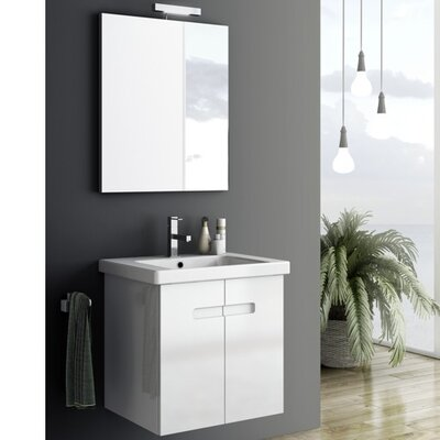 New York 2 26 Single Bathroom Vanity Set with Mirror Base Finish: Glossy White