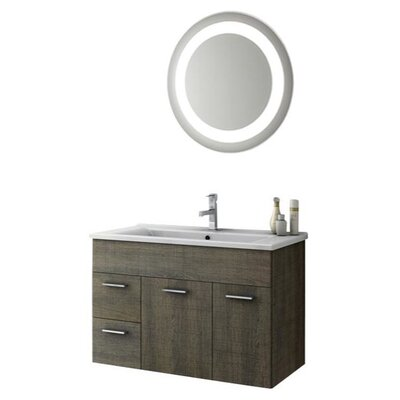 Loren 34 Single Bathroom Vanity Set with Mirror Base Finish: Gray Oak