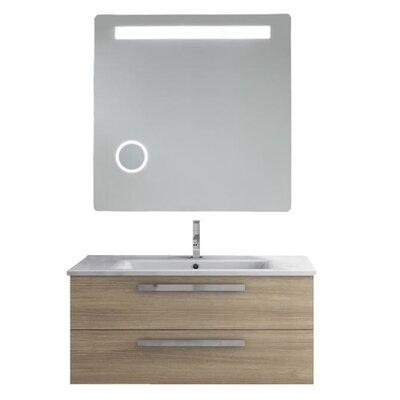 Dadila 39 Single Bathroom Vanity Set with Mirror Base Finish: Gray Oak