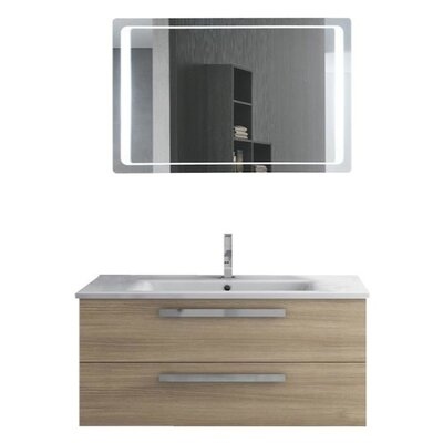 Dadila 39 Single Bathroom Vanity Set with Mirror Base Finish: Glossy White