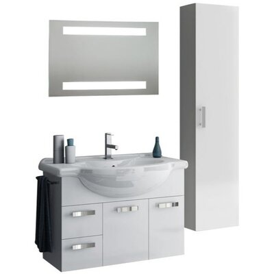 Phinex 35 Single Bathroom Vanity Set with Mirror Base Finish: Glossy Anthracite