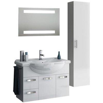 Phinex 35 Single Bathroom Vanity Set with Mirror Base Finish: Glossy Anthracite