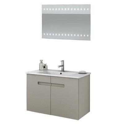New York 34 Single Bathroom Vanity Set with Mirror Base Finish: Glossy White
