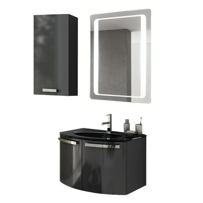 Crystal Dance 28 Single Bathroom Vanity Set with Mirror Base Finish: Glossy Anthracite