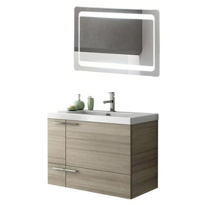 New Space 34 Single Bathroom Vanity Set with Mirror Base Finish: Larch Canapa