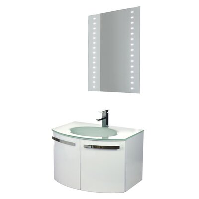 Crystal Dance 28 Single Bathroom Vanity Set with Mirror Base Finish: Glossy White