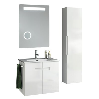 New York 27 Single Bathroom Vanity Set with Mirror Base Finish: Matt Canapa