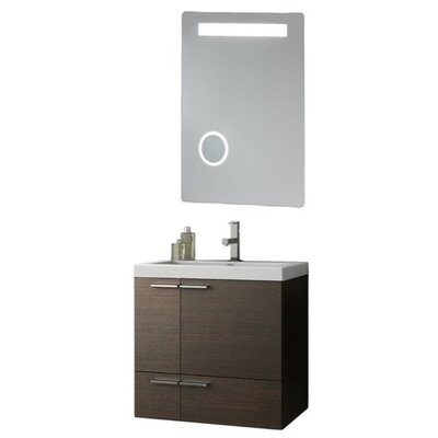 New Space 24 Single Bathroom Vanity Set with Mirror Base Finish: Glossy White
