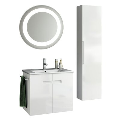 New York 27 Single Bathroom Vanity Set with Mirror Base Finish: Glossy White