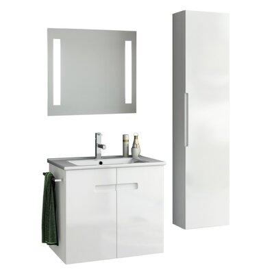 New York 27 Single Bathroom Vanity Set with Mirror Base Finish: Glossy White