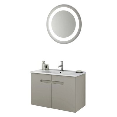 New York 34 Single Bathroom Vanity Set with Mirror Base Finish: Glossy White