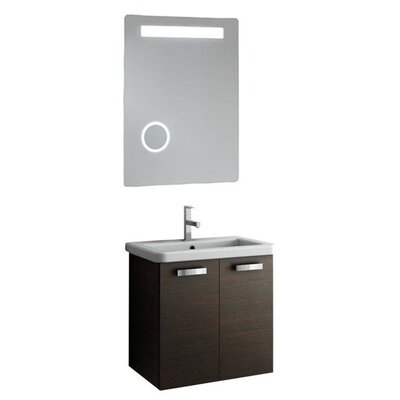 City Play 24 Single Bathroom Vanity Set with Mirror Base Finish: Gray Oak