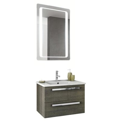 Dadila 26 Single Bathroom Vanity Set with Mirror Base Finish: Glossy White