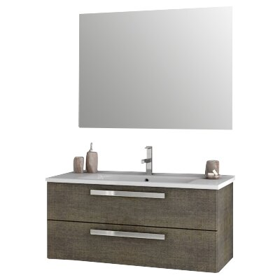 Dadila 38.2 Single Bathroom Vanity Set with Mirror Base Finish: Gray Oak Senlis