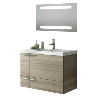 New Space 34 Single Bathroom Vanity Set with Mirror Base Finish: Gray Oak