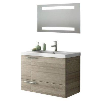 New Space 34 Single Bathroom Vanity Set with Mirror Base Finish: Wenge