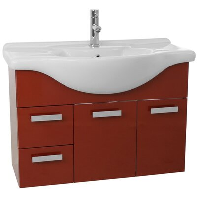 Phinex 41 Single Bathroom Vanity Set with Mirror Base Finish: Glossy Red
