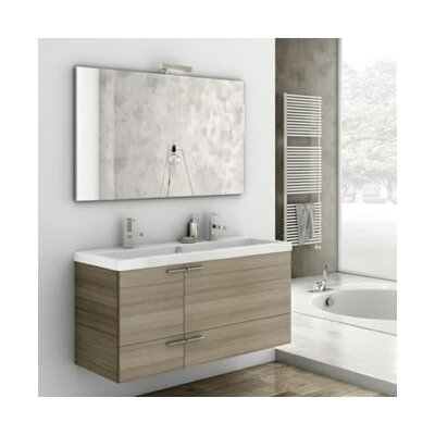 New Space 47 Single Bathroom Vanity Set with Mirror Base Finish: Glossy White