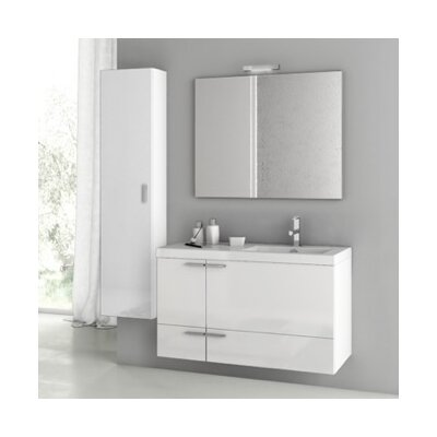 New Space 39 Single Bathroom Vanity Set with Mirror Base Finish: Glossy White