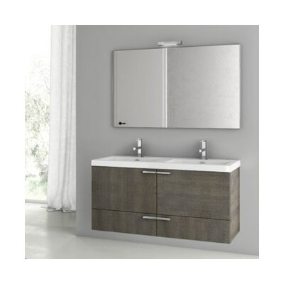 New Space 47 Double Bathroom Vanity Set with Mirror Base Finish: Gray Oak