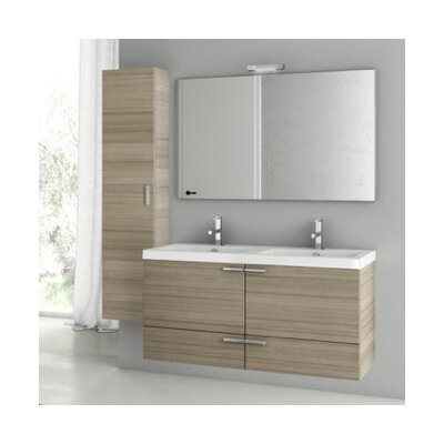New Space 47 Double Bathroom Vanity Set with Mirror Base Finish: Larch Canapa