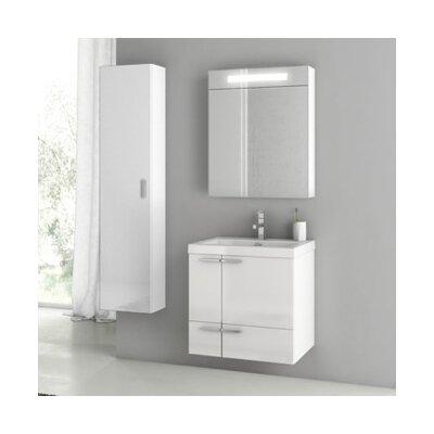 New Space 24 Single Bathroom Vanity Set Base Finish: Glossy White