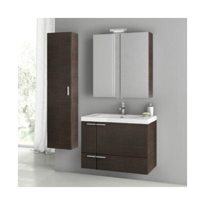 New Space 32 Single Bathroom Vanity Set Base Finish: Wenge