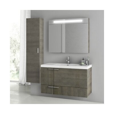 Furniture-New Space 39 Single Bathroom Vanity Set Base Finish Gray Oak