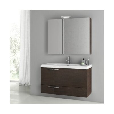 New Space 39 Single Bathroom Vanity Set Base Finish: Wenge